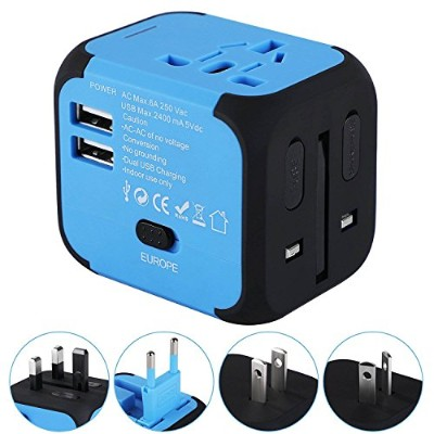 Universal Travel Adapter, International Power Adapter with 2.4A Dual USB Ports Worldwide AC Wall...