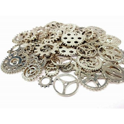 (antique silver) - Salome Idea 200 Gramme (Approx 100 PCS) Assorted Antique Steampunk Gears Charms...