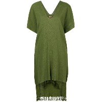 Caravana jute fringed poncho dress - グリーン