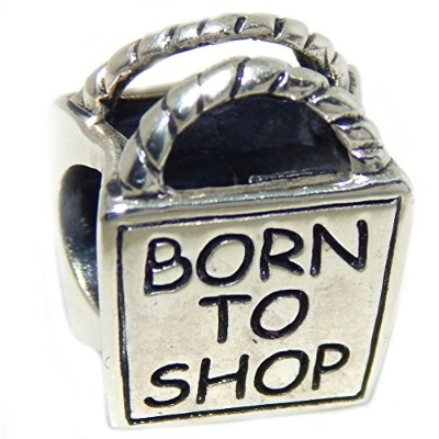 Proジュエリー925Solid Sterling Silver ' Born to Shop 'ショッピングバッグチャームビーズ