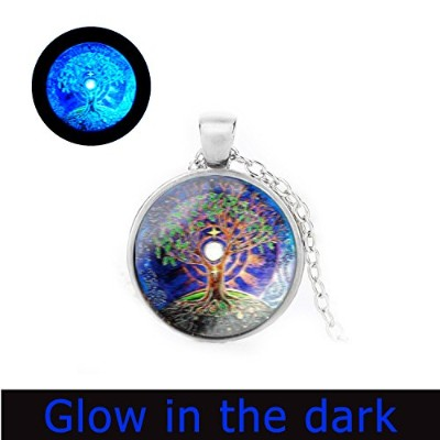 glowlala @ツリーの生活ネックレスGlow in the Dark Moon andツリーGlowingネックレスFull Moon Blue and Greenアートペンダント