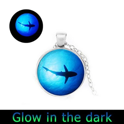 glowlala ® GlowingネックレスSharkペンダントクリスマスギフトGlowing in the Dark魚under water Glowsジュエリー魚ネックレス海洋ペンダント
