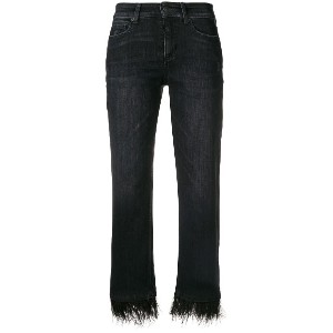 Cambio feather hem cropped jeans - ブラック