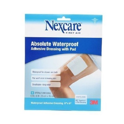 Nexcare Absolute Waterproof Adhesive Dressing wtih Pad, 6 x 6 inches 1 ea by Nexcare
