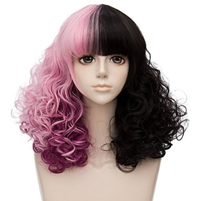 (Pink Purple Mixed Black) - TOP-MAX Pink Purple Mixed Black Medium 46cm Culry With Bangs Heat...