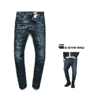 G-STAR RAW【 ジースターロウ 】【 D-Staq 3D Super Slim Jeans 】スーパースリム・テーパード・デニムcolor【 DK AGED ANTIC DESTROY ...