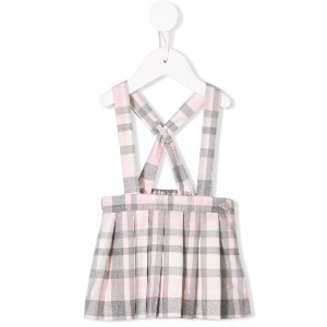 Il Gufo checked pleated suspender skirt - ピンク&パープル