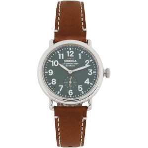 メンズ SHINOLA  RUNWELL 41mm, Brown Leather Strap 腕時計 グリーン