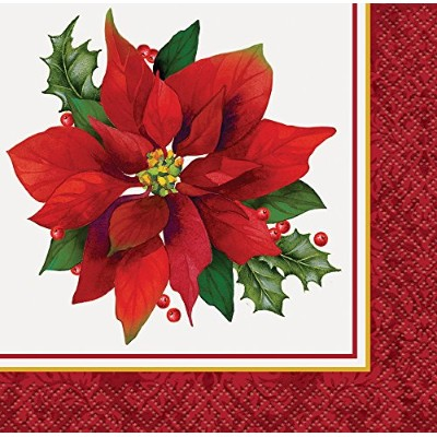 Holly Poinsettia Holiday Beverage Napkins, 16ct