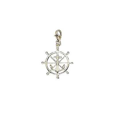 Ship Wheel Charm with Lobster Claw Clasp、チャームブレスレットとネックレス用