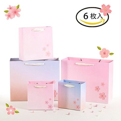 JeVenis 引き出物袋 冬の桜 高級手提げ紙袋 ギフト バッグ プレゼント 袋 手提げ袋 手提げ 桜 ギフト 冬の贈り物 冬の桜セット 6枚セット