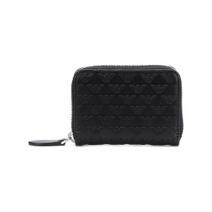 Emporio Armani embroidered leather wallet - ブラック