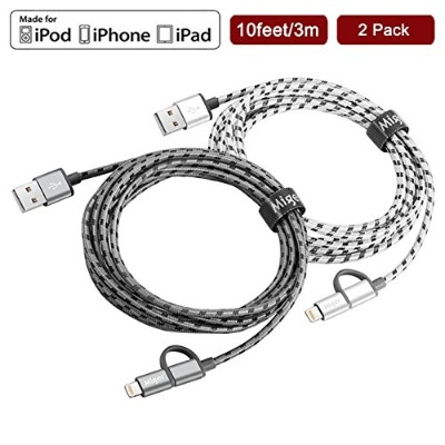 Miger 10フィート 2 in 1 Lightning Cables and Micro USB Cable iPhone、iPad/iPod、Samsung、Nexus、Nokia、Sony...