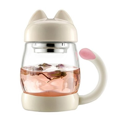 (White) - BZY1 410ml Glass Tea Cup with a Lid & Strainer, Portable Cute Cat Tail Heat Resistant...