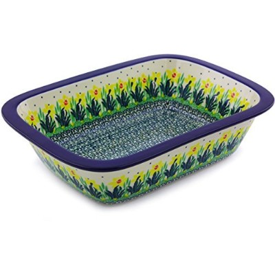 Polish Pottery Rectangular Baker 25cm with Lip Grip made by Ceramika Artystyczna (Summer Meadow...