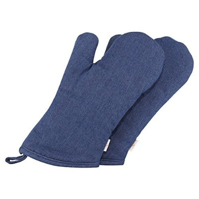 (Adult, Solid Indigo Blue) - Neoviva Durable Cotton Denim Quilting Adults Oven Mitts for Daily...