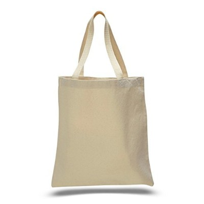 (Natural) - Promotional Priced Heavy Cotton Canvas Shopping Blank Tote Bag Art Craft