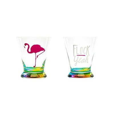 About Face Designs 123069Flock Yeah/Flamingoマティーニガラスセット、10.2オンス、クリア