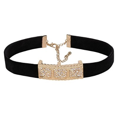 Ashi 'sコレクションVelvet Choker Withメタルセンター豊かなStudded With Crystal For Women & Girls