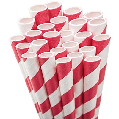 (Red & White Striped) - Paper Drinking Straws 20cm 50/Pkg