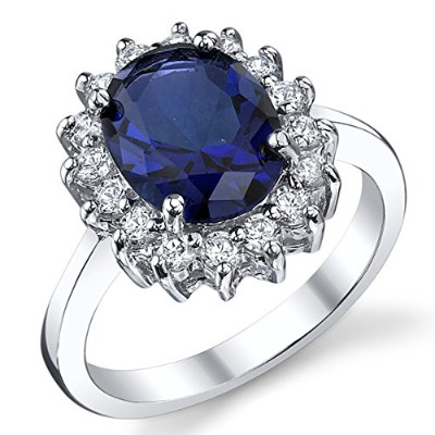 (6) - Solid Sterling Silver Kate Middleton's Engagement Ring with Simulated Sapphire Blue Colour...