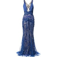 Zuhair Murad plunge neck X back gown - ブルー
