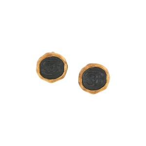 Chanel Vintage CC Logos Button Earrings - ブラック