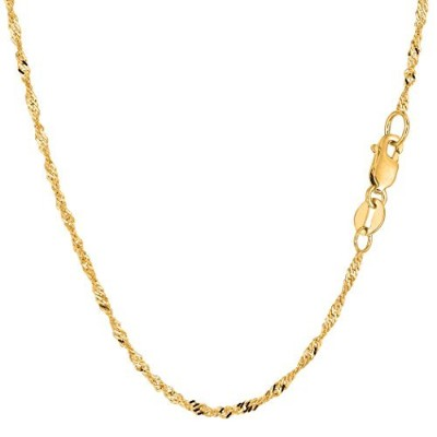 """10k Yellow Gold Singapore Chain Necklace, 1.7mm, 30"""""""