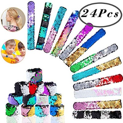 Mermaid Slap Bracelet, Hicdow 24 Pcs Sequins Magic Slap Bracelet 24 colour Reversible Shining Flip...