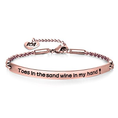 myosparkビーチLoverブレスレットToes in the Sandワインin My HandブレスレットワインジュエリーGift for Wine Lovers