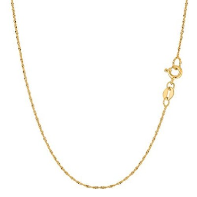 10k Yellow Gold Singapore Chain Necklace, 0.8mm, 16""
