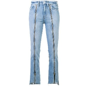 Mother zip detail cropped jeans - ブルー