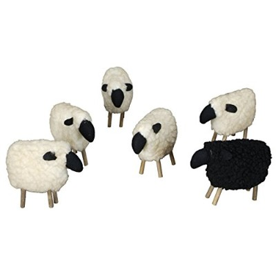Woolly Sheep White & Black Set of 6 - Stuffed Primitive Country Rustic Decor