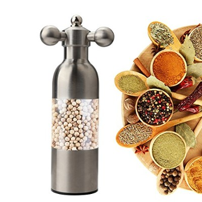 a-szcxtop Hand OperatedステンレススチールSalt and Pepper Mill with Adjustable Grinder Rudderハンドルキッチンダイニングルーム用...