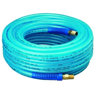 Amflo 12-100E Blue 300 PSI Polyurethane Air Hose 1/4 x 100' With 1/4 MNPT Swivel Ends And Bend...