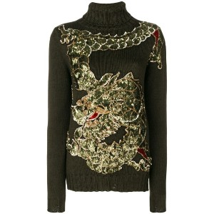 P.A.R.O.S.H. sequinned dragon embroidery jumper - グリーン