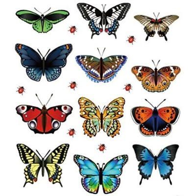 Ussore 12PC Butterfly Stickers Landscaping Decoration Heart Shaped Stickers Removable For Kids Home...