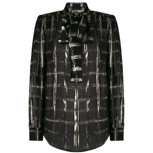 Alberta Ferretti checked bow tie shirt - ブラック