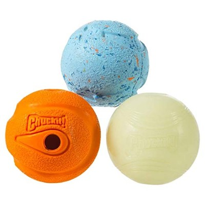Chuckit! Dog Fetch Toy MEDLEY 3-pack Whistler, Max Glow, Rebounce Ball MEDIUM