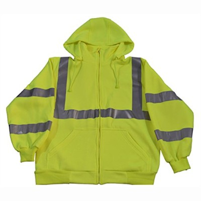 Petra Roc LSWS-C3-S Sweatshirt Ansi Class 3 with Detachable Hood & Zipper Closure44; Lime Green -...