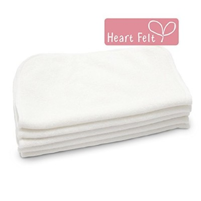 Heart Felt 100% Bamboo Cloth Natural Baby Wipes - 5 Extra-large Reusable Wipes for Wipes, Wash...