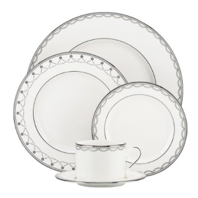 Lenox 822939Iced Pirouette 5-piece Place Setting、ホワイト