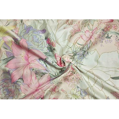 (Sold by the yard, 05) - Maxfeel 100% Pure Mulberry Silk Charmuse Floral Fabric 45 Wide for Bedding...