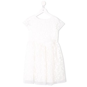 Charabia floral embroidered tulle dress - ホワイト