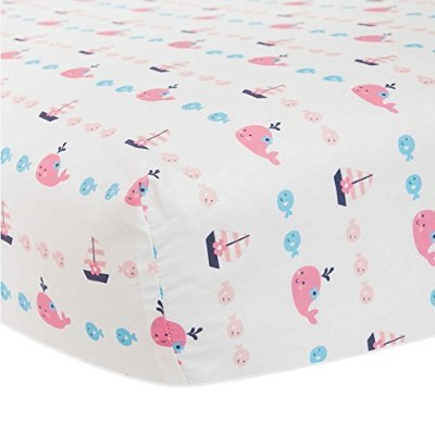 100% Cotton, Allover Print of Roxy the Whale with Aailboats & Fishes Fitted Crib Sheet by Lambs &...
