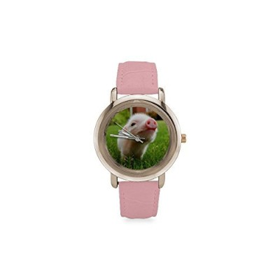 Thanksgiving Day Gift Little Lovely Cute Baby Pig Women's Rose Gold Leather Strap Watch by Litter...