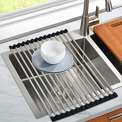 (20.5 13 S) - JOMOLA Roll-Up Dish Drying Rack,SUS304 Stainless Steel Square Tube, Foldable Sink...