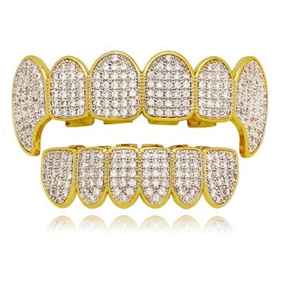 LureenゴールドシルバーTwoTone Iced Out CZ Vampire Fangs Grillzセット+ 2Extra Molding Bars