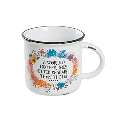 "Natural Life""A Worried Mother Does Better Research Than The FBI"" Floral Camp Mug"