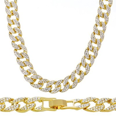 14K Gold Plated Iced Out Techno Paveメンズ腕時計、キューバチェーン&ブレスレットセット イエロー